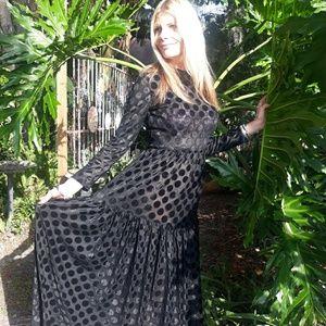 70's vintage dramatic black maxi boho dress small